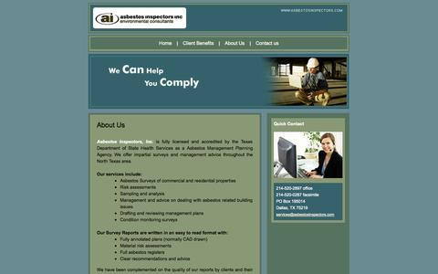 Screenshot of About Page asbestosinspectors.com - Low Cost Asbestos Inspection Fort Worth - Plano Asbestos Inspectors - Denton Asbestos Inspection Services - captured Oct. 4, 2014