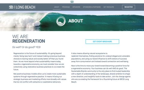 Screenshot of About Page sustainablebrands.com - About - SB'20 Long Beach | Sustainable Brands 2020 Flagship Conference - captured Jan. 18, 2020
