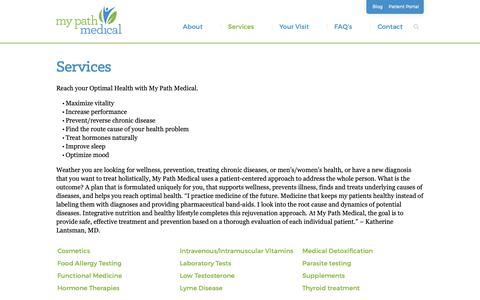 Screenshot of Services Page mypathmedical.com - Services | Dr. Katherine Lantsman, MD - Boston alternative, functional, and integrative medicine - My Path Medical Wellness Center - captured Oct. 20, 2018