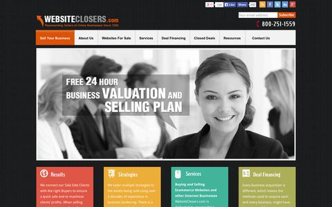 Screenshot of Home Page websiteclosers.com - Website Brokers that Sell Websites & Online Businesses, Selling Your Sites and Domains | Website Closers - captured Sept. 23, 2014