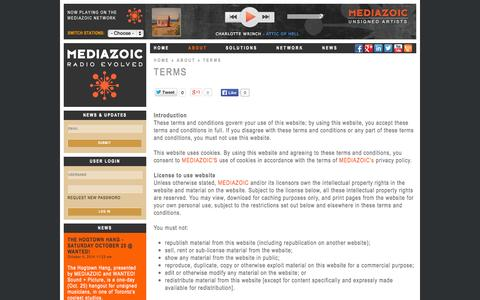 Screenshot of Terms Page mediazoic.com - Terms | Mediazoic - captured Oct. 27, 2014