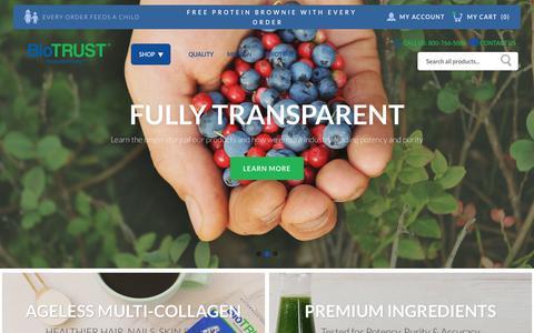 Screenshot of Home Page biotrust.com - Biotrust Nutrition | BioTRUST — Naturally Honest Supplements & Vitamins - captured Jan. 10, 2019