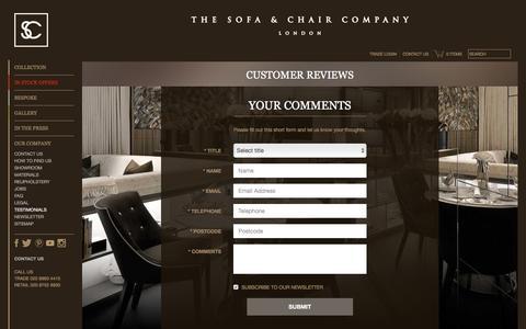 Screenshot of Testimonials Page thesofaandchair.co.uk - Testimonials - The Sofa & Chair Company - captured Feb. 12, 2017