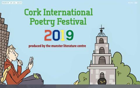 Screenshot of Home Page corkpoetryfest.net - Cork International Poetry Festival - captured Nov. 29, 2018