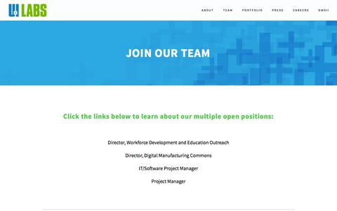 Screenshot of Jobs Page uilabs.org - JOIN OUR TEAM — UI LABS - captured Oct. 29, 2014
