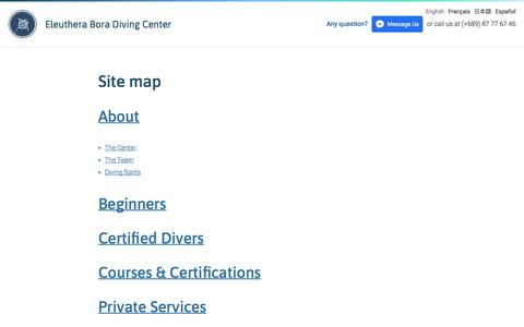 Screenshot of Site Map Page Menu Page eleutheraboradiving.com - Site map – Eleuthera Bora Diving Center - captured July 8, 2018