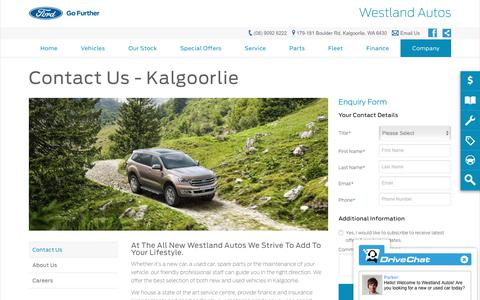 Screenshot of Hours Page westlandautos.com.au - Contact Us   Kalgoorlie, WA - Westland Autos - captured Oct. 31, 2018
