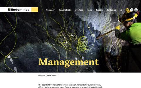 Screenshot of Team Page endomines.com - Management - Endomines - captured Sept. 28, 2018