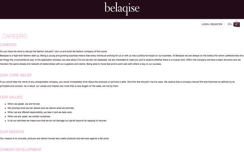 Screenshot of Jobs Page belaqise.com - Careers | Belaqise Couture Innovant - captured Sept. 30, 2014