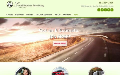 Screenshot of Home Page latuffbrothers.com - Auto Body, Collision Repair, Body Shop St Paul MN | Latuff - captured Sept. 20, 2015