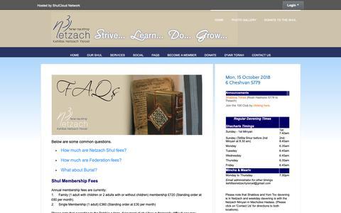 Screenshot of FAQ Page netzach.org.uk - FAQs - Kehillas Netzach Yisroel - captured Oct. 15, 2018