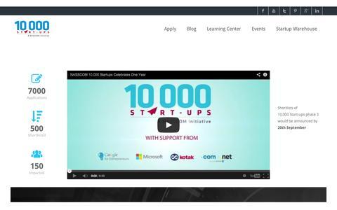 Screenshot of Home Page 10000startups.com - 10,000 Start-ups - A NASSCOM Initiative - captured Sept. 18, 2014