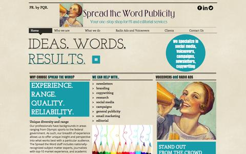 Screenshot of Home Page spreadthewordpublicity.com - Spread the Word Publicity and Editorial- Destin, FL - captured Oct. 7, 2014