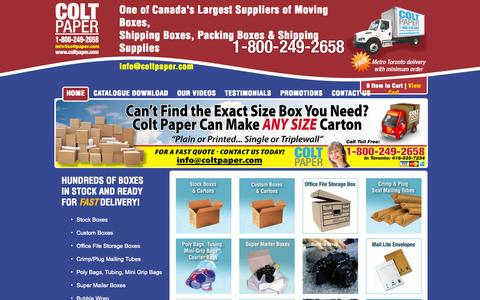 Screenshot of Home Page coltpaper.com - Moving and Shipping Boxes Toronto - Colt Paper - captured Sept. 30, 2014