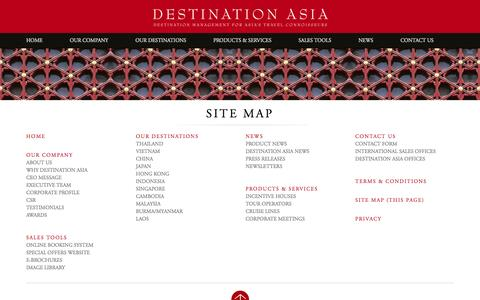 Screenshot of Site Map Page destination-asia.com - Site Map - captured Jan. 7, 2016