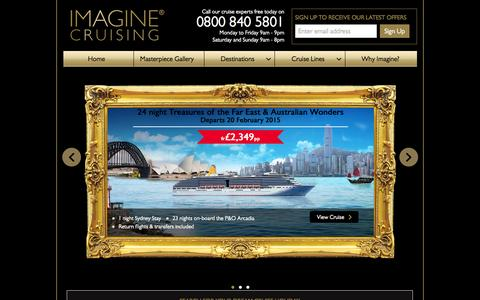Screenshot of Home Page imaginecruising.co.uk - Cruise Deals from Imagine Cruising, Book Your 2014/2015 Cruise Holiday Today! |  Imagine Cruising - captured Sept. 30, 2014