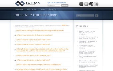 Screenshot of FAQ Page tetranliving.com - Tetran | FAQ | TETRAN - captured Oct. 9, 2014