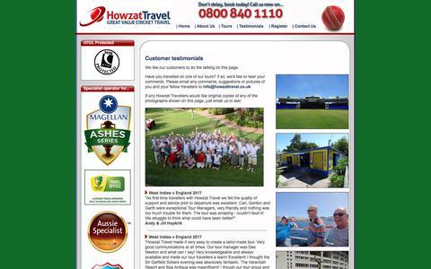 Screenshot of Testimonials Page howzattravel.co.uk - Customer Testimonials | Howzat Travel - captured Sept. 15, 2017