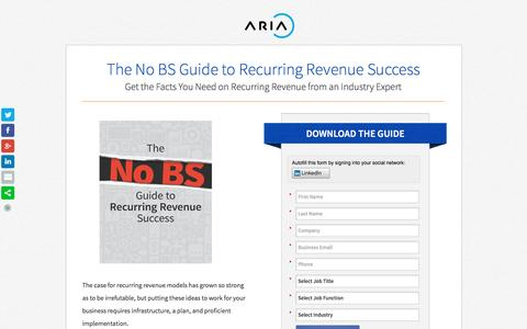 Screenshot of Landing Page ariasystems.com - No BS Guide to Recurring Revenue Success   Aria Systems - captured March 15, 2016