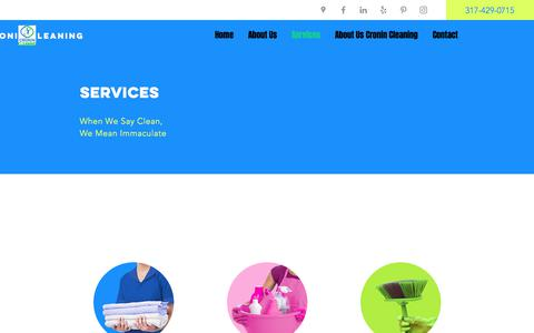 Screenshot of Services Page cronincleaning.com - House Cleaning, Small Business Janitorial   Cronin Cleaning   Indiana - captured July 3, 2019