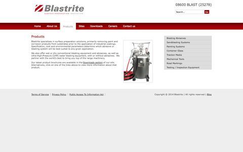 Screenshot of Products Page blastrite.co.za - Our Product Range - Sandblasting \| Painting Equipment \| Abrasives - Blastrite - captured Sept. 30, 2014