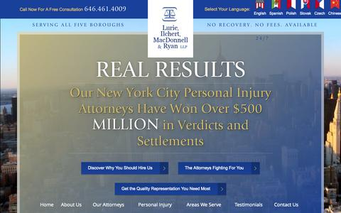 Screenshot of Home Page pilawyersnyc.com - New York City Personal Injury Lawyer   Lurie, Ilchert, MacDonnell & Ryan, LLP - captured Oct. 7, 2015