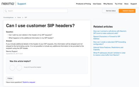 Can I use customer SIP headers? – Knowledgebase