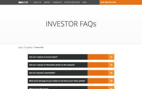 Screenshot of FAQ Page biglots.com - Investor FAQs | Investors  | Big Lots - captured Jan. 21, 2017