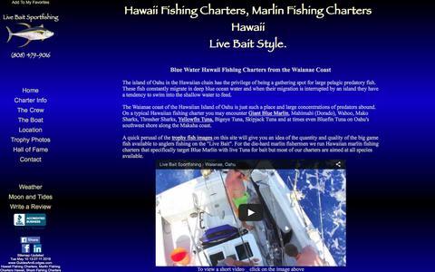 Screenshot of Home Page live-bait.com - Live Bait Sportfishing Offers Hawaii Fishing Charters, Marlin Fishing Charters in Hawaii, Shark Fishing Charters in Hawaii - captured June 25, 2016