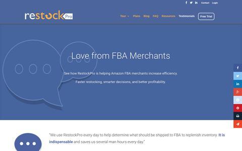 Screenshot of Testimonials Page restockpro.com - Testimonials - RestockPro - captured Dec. 17, 2016
