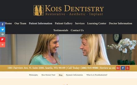 Screenshot of Blog koisdentistry.com - Seattle Dentistry Blog | Kois Dentistry - captured July 1, 2018