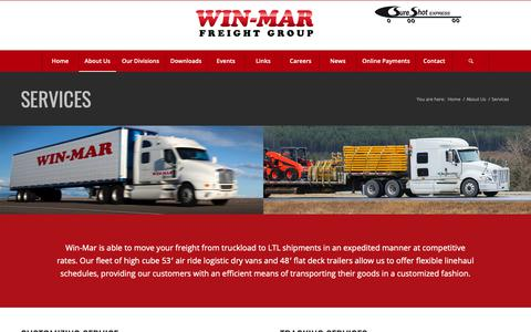 Screenshot of Services Page win-mar.com - Services | Win-Mar Freight Systems - captured Oct. 19, 2018