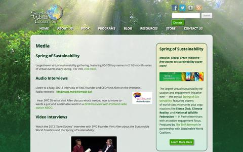 Screenshot of Press Page swcoalition.org - Media - Sustainable World Coalition - captured Oct. 7, 2014