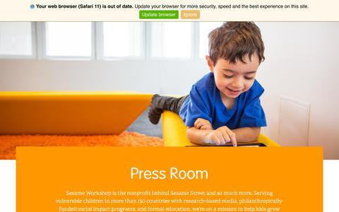 Screenshot of Press Page sesameworkshop.org - Press Room | Sesame Workshop - captured Feb. 3, 2019