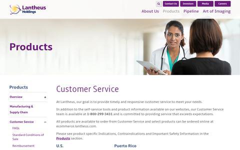 Screenshot of Support Page lantheus.com - Customer Service Overview | Lantheus - captured Oct. 25, 2016