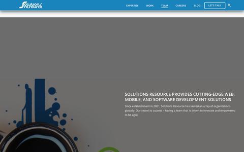 Screenshot of Team Page solutionsresource.com - Team - Solutions Resource - captured Sept. 21, 2018