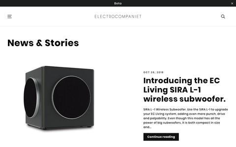 Screenshot of Press Page electrocompaniet.com - News & Stories – ELECTROCOMPANIET - If music really matters... - captured Nov. 10, 2018