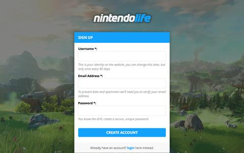 Screenshot of Signup Page nintendolife.com - Nintendo Life - Create Account - captured Aug. 21, 2016