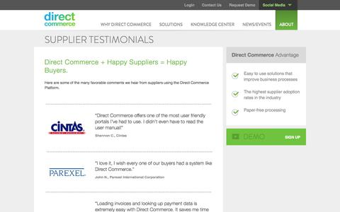 Screenshot of Testimonials Page directcommerce.com - Supplier Testimonials | Direct Commerce - captured Sept. 25, 2014