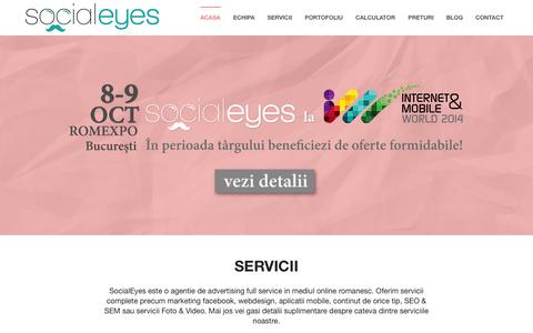 Screenshot of Home Page socialeyes.ro - SocialEyes - Marketing Facebook - captured Oct. 6, 2014