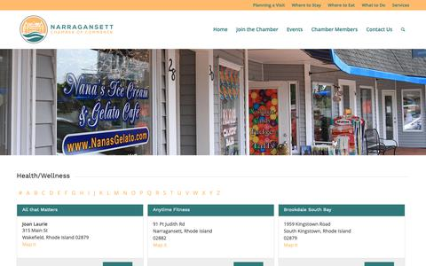 Screenshot of Services Page Terms Page narragansettcoc.com - Services in Narragansett - Narragansett Chamber of Commerce - captured Oct. 23, 2018