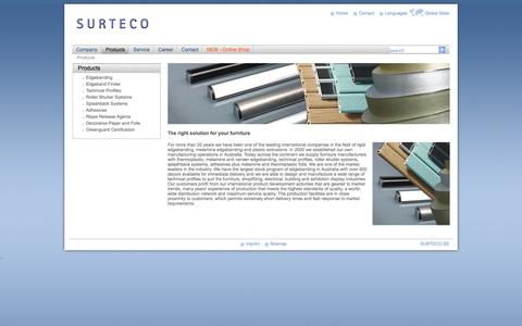 Screenshot of Products Page surteco.com.au - Surteco Australia: Products - captured Oct. 8, 2014
