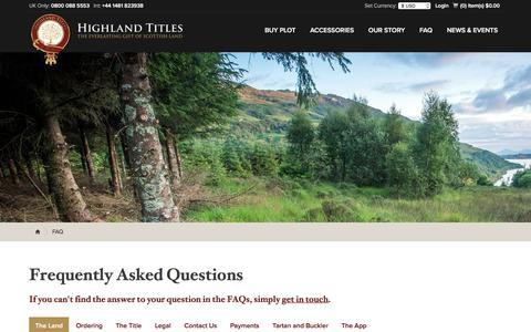 Screenshot of FAQ Page highlandtitles.com - FAQ - Highland Titles - captured Nov. 8, 2016