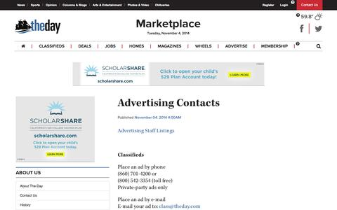 Screenshot of Terms Page theday.com - The Day - Advertising Contacts - News from southeastern Connecticut - captured Nov. 4, 2014