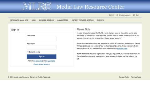 Screenshot of Login Page medialaw.org - Sign In - captured Nov. 28, 2016