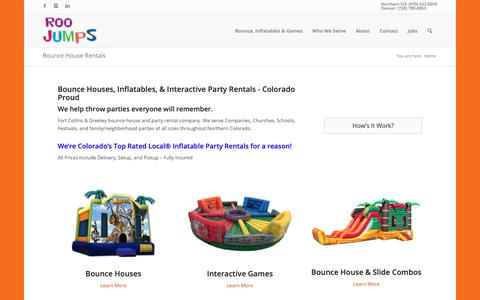 Screenshot of Home Page roojumps.com - Roo Jumps - Greeley & Ft Collins Bounce House Rentals, Denver Inflatables - captured Oct. 18, 2018
