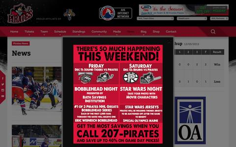 Screenshot of Press Page portlandpirates.com - News Ľ Portland Pirates - captured Dec. 9, 2015