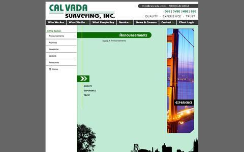 Screenshot of Press Page calvada.com - Sacramento Land Surveyor, Arizona, Nevada, Las Vegas, Los Angeles - Contact Us - captured Nov. 1, 2014