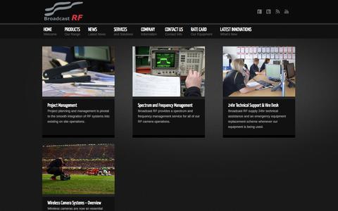 Screenshot of Services Page broadcastrf.com - Services - Broadcast RF - captured Sept. 30, 2014