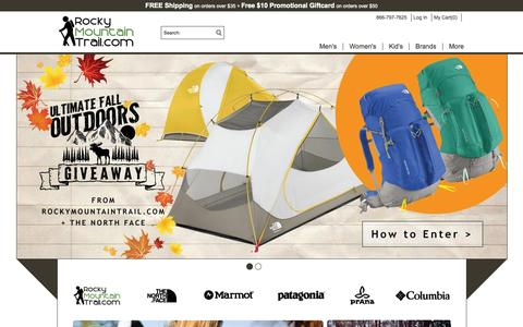 Screenshot of Home Page rockymountaintrail.com - Outdoor Gear - Jackets, Backpacks, Tents | RockyMountainTrail.com - captured Oct. 1, 2015